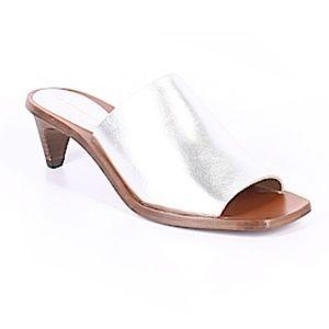 Zara Silver Kitten Heel Mules